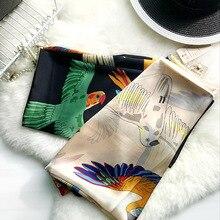 High-grade Bird Silk Scarf Fashion Women Soft Foulard Peacock Turkish Natural Twill Silk Imitation Shawls Scarves New Year Gift