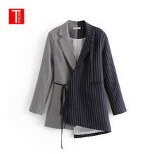 Women Blazers and Jackets 2019 Spring Colorblock Patchwork Striped Work Blazer Womens Blazer Notched Outerwear Ladies Long Coat cheap COTTON Polyester Full NONE Office Lady TMODA T MODA