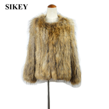CR035  New Real raccoon fur knitted coat/jacket  winter ourwear