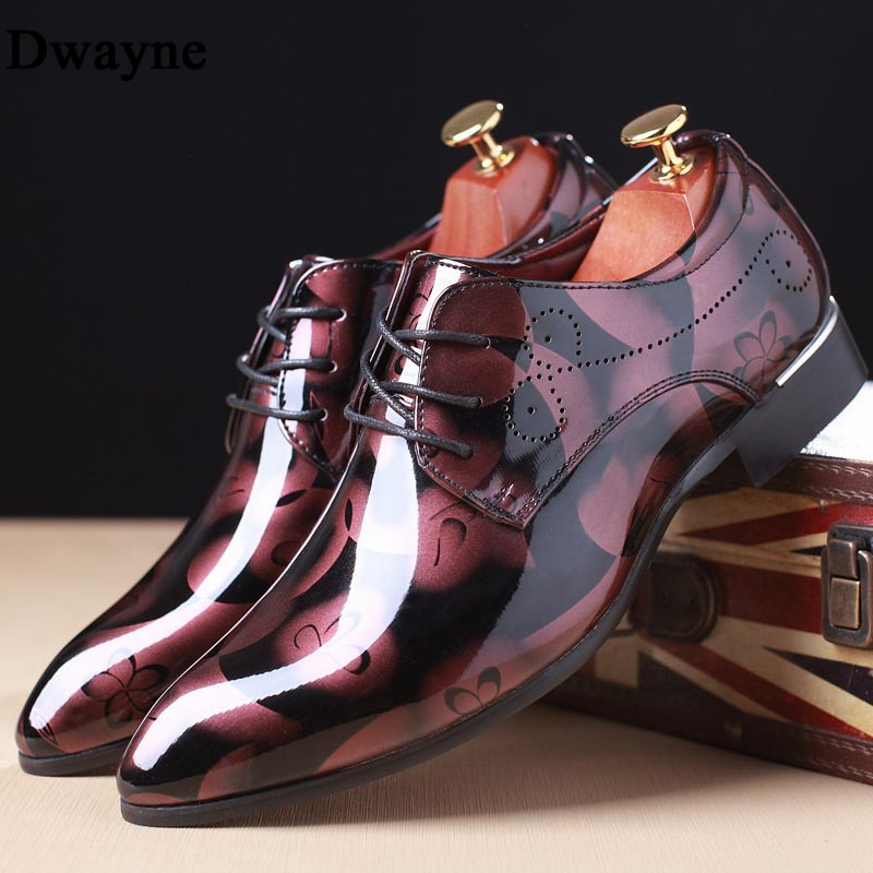 Dwayne Formal Wedding Shoes Luxury Men Business Dress Shoes Men camouflage Bullock Pointy Shoes Big Size 37-50