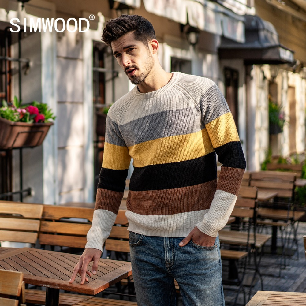 SIMWOOD 2019 Winter Wool Sweater Men Fashion Contrast Color Casual Knitted Pullovers Brand Clothes Male Sueter Hombre 180368