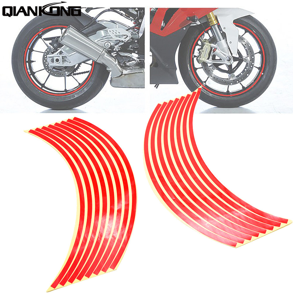 Motorcycle Wheel Sticker Reflective Decals Rim Tape Bike Car Styling For Honda CB1000R CBR600RR CBR125R CB600F Kawasaki DRZ400S
