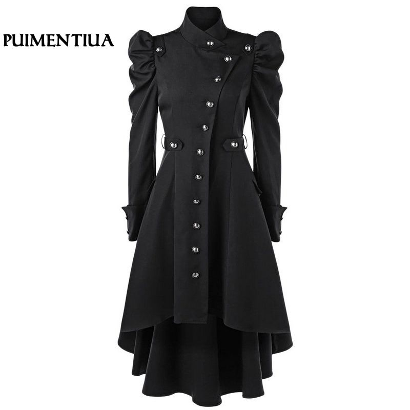 Puimentiua Women Winter Long Medieval   Trench   Black Stand Collar Gothic Coat Female Vintage Button Outerwear Tunic Elegant Coat