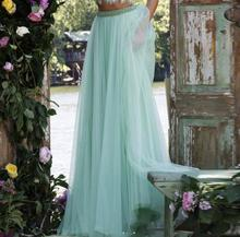 Delicate Long Mint Green Lilac Tulle Skirts For Women Crystal Beaded Waistband Tutu Skirt fashion Style Pleat Summer Style