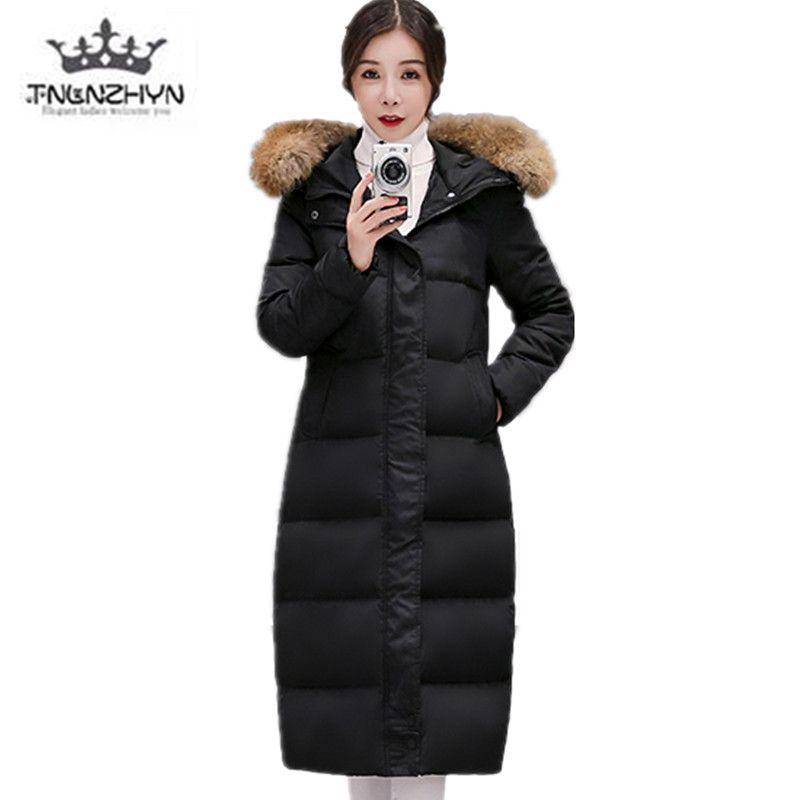 2017 Winter Down Jacket Women Medium long Fur collar Large size Loose Ms Jacket Coat Hooded Clothing Thicken Warm Cotton Jacket 2017winter women coat warm fashion large fur collar medium long down cotton jacket coat thick large size hooded coats e8 tnlnzhy