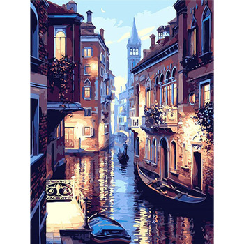 Çerçevesiz Gece Venedik Manzara Sayılar Tarafından DIY Dijital Boyama Akrilik Boya Numaraları Modern Duvar sanat resmi Hediye Için