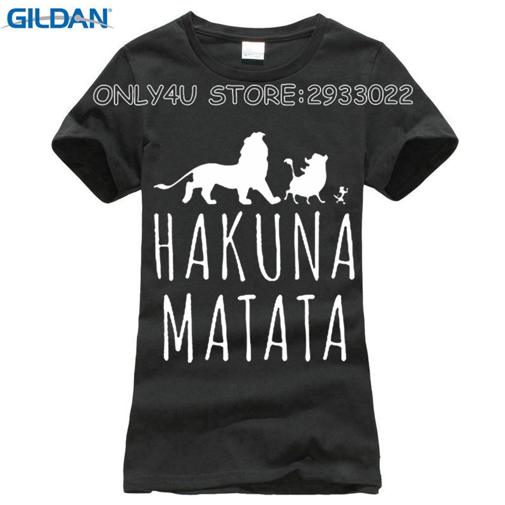 2016 Summer Casual Cotton T Shirts Slim Fit Short Sleeve Letter Print Lion HAKUNA MATATA T