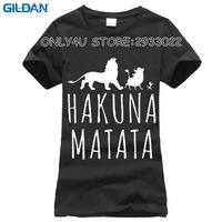 2016 Summer Casual Cotton T Shirts Slim Fit Short Sleeve Letter Print Lion HAKUNA MATATA T