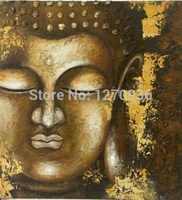 New Arrival Handmade Modern Abstract Buddha Portrait Oil Painting on Canvas Gold Buddha Religion Acrylic Picture for Decor
