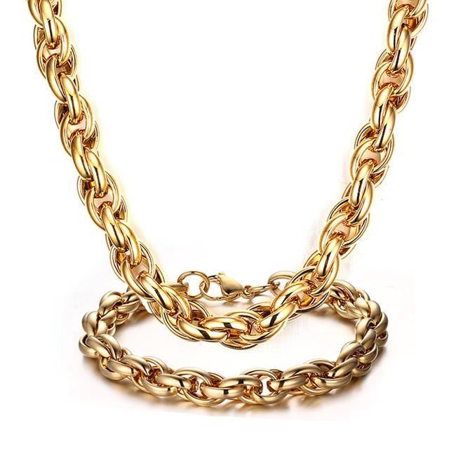 Vnox cadeia robusto conjuntos de jóias para os homens de aço inoxidável longo colares + pulseiras jóias africano