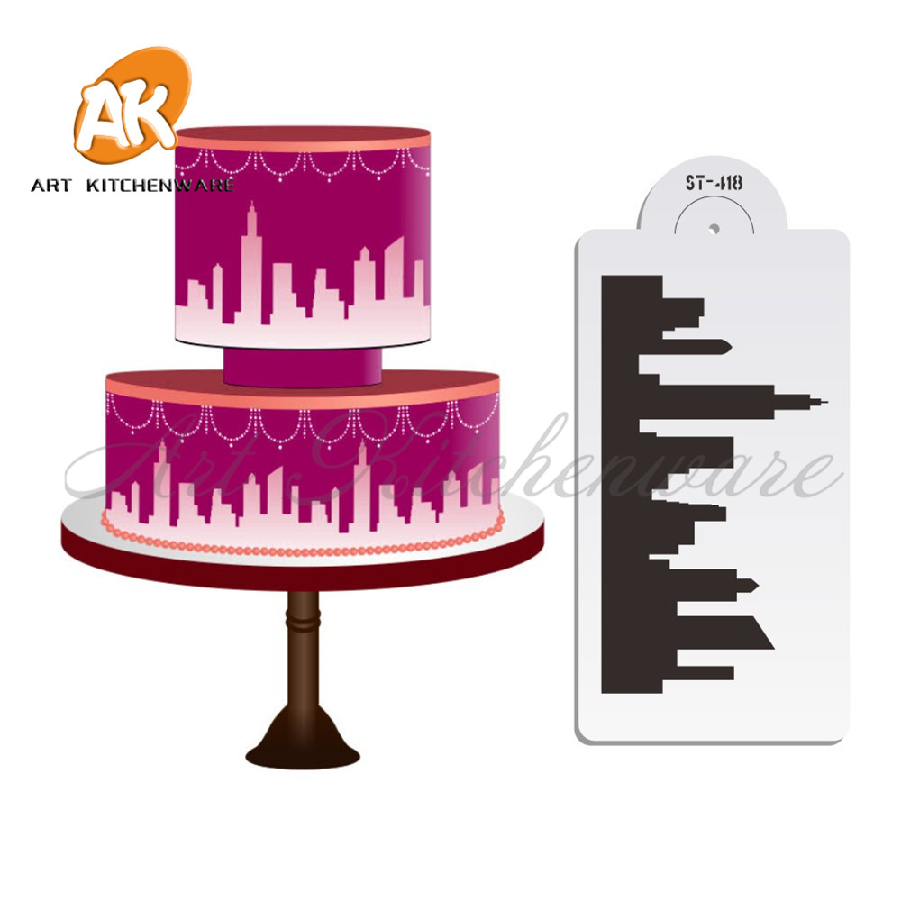 New York Skyline Cake Stencil Cake Side Stencil Cake Fondant menghias Acuan Wall Decorating Stencil Bakeware Pastry Tool ST-418