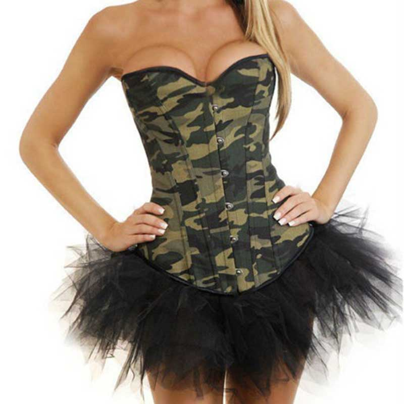 <font><b>Army</b></font> Green Camouflage Denim <font><b>Cosplay</b></font> Overbust Corset Top Bustier <font><b>Sexy</b></font> Gothic Clothing Espartilhos E Corpetes Corsets And Bustiers image