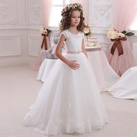 Luxury White Tulle Flower Girl Dresses 2017 New Graduation Gowns Children Crystal Belt First Communion Dress