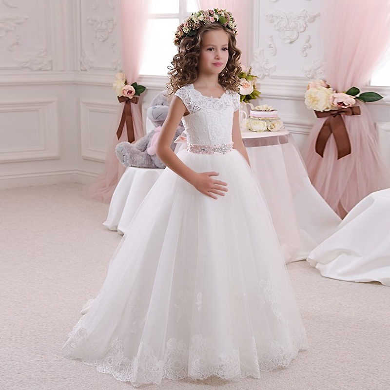 Luxury White Tulle Flower Girl Dresses 2017 New Graduation Gowns Children Crystal Belt First Communion Dress For Girls Pageant new white ivory flower girl dresses for wedding 3d flowers puffy tulle with big bow girls first communion gowns