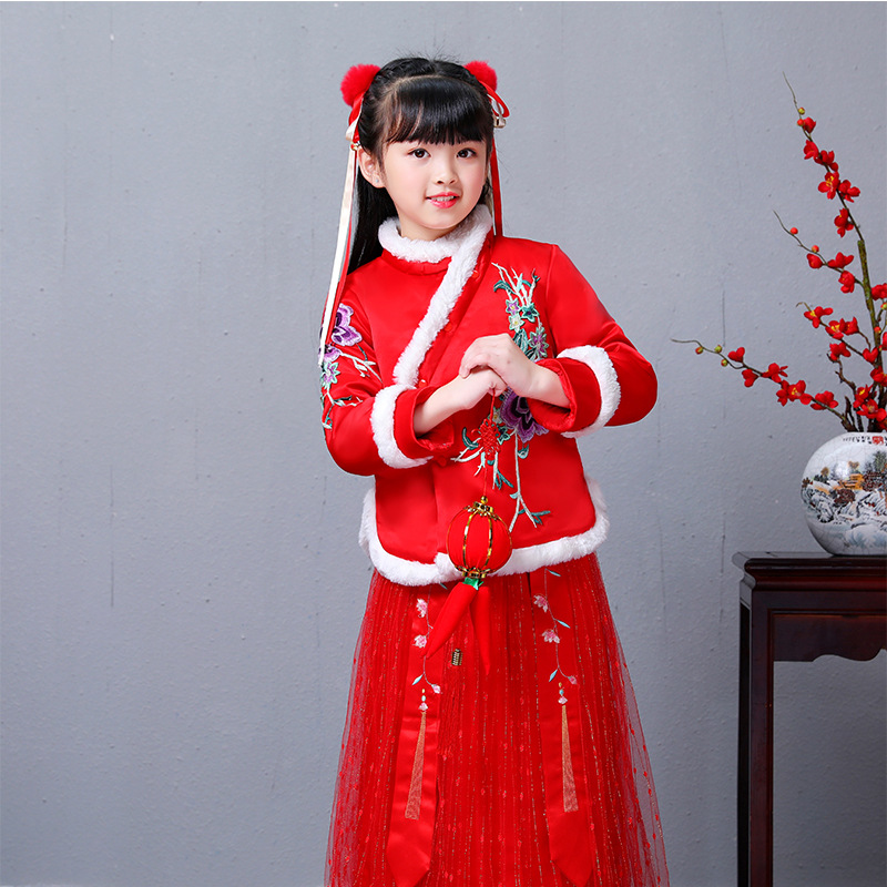 3813 Winter Girls Clothes Thickened Cotton Long Sleeve Chinese Style Tang Dress and Cheongsam Dresses New Year Children's Dress