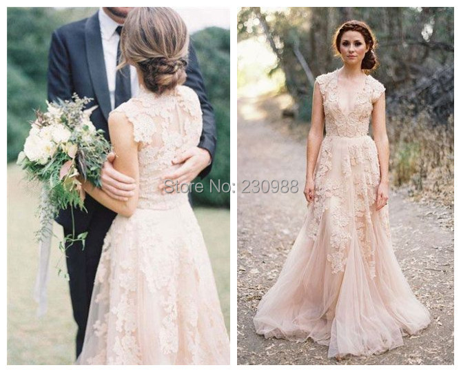 A Line Tulle Pleat Cap Sleeve Sweetheart With Lace Liques Elegant Bridal Light Pink Wedding Dresses 2017 In From Weddings Events On