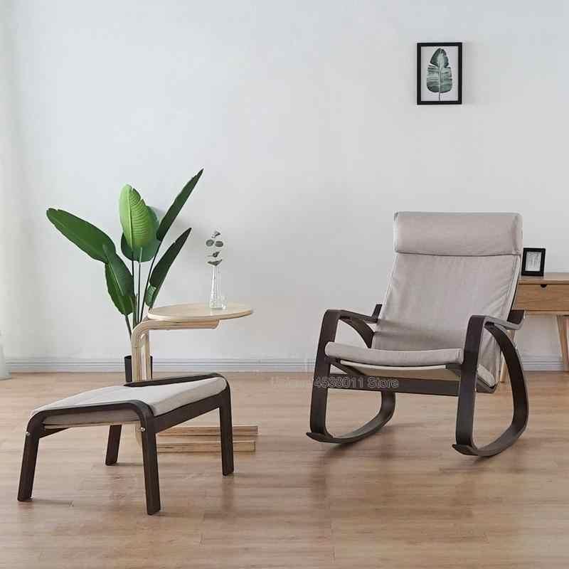 Nordic varanda cadeira de balanço moldura de madeira sólida cadeira de balanço antiga homem moda mulher grávida cochilo fácil cadeira espreguiçadeira