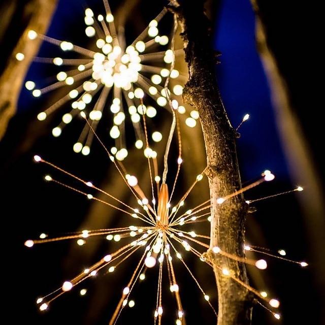 40 Lights Sticks 200led Solar Battery Diy Fireworks Light String Lantern Christmas Room Outdoor Decorative Lamp