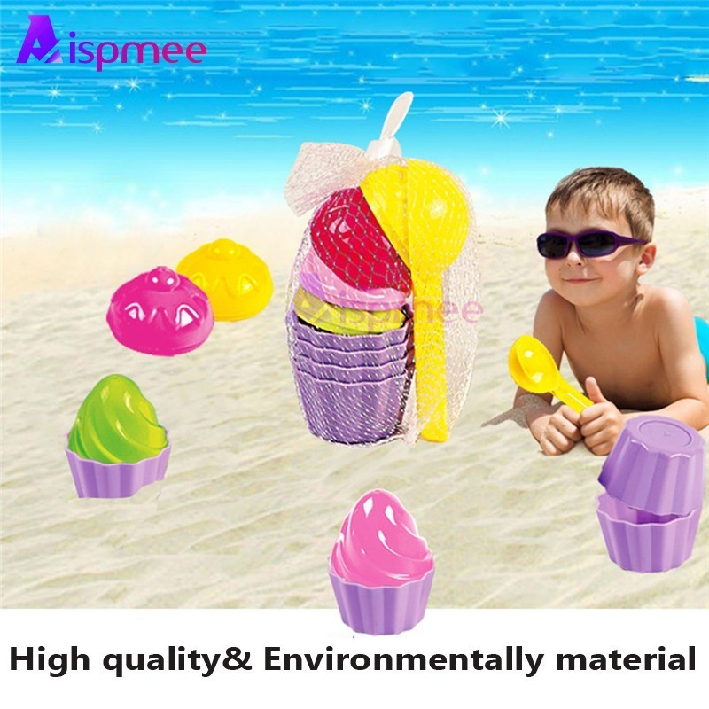 9pcs/lot Kids Baby Beach Sand Toys Small Cake Mould Spoon Ice Cream Pudding Beach Play Sand Snow Play Water Toys Gifts For Kids