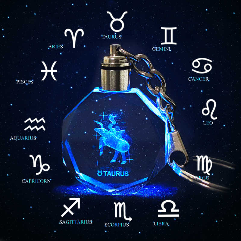 คริสตัล Zodiac Sign 12 Constellation Key Chain 3D Star Sign ของผู้หญิงอุปกรณ์เสริม LED Light Key Zodiac Gemini วันเกิดของขวัญ