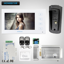 HOMSECUR 7 Wired Video&Audio Home Intercom+Touch Button  for House/Flat :TC041 +TM704-W homsecur 9inch wired video door entry security intercom electric lock keys included