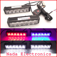 2x6led high power 36watt car grille strobe lights vehicle flash lights led police warning light white red blue 3 colors in one