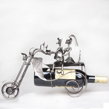 Two people riding a motorcycle mettle iron wine rack cabinet special Home Furnishing decoration