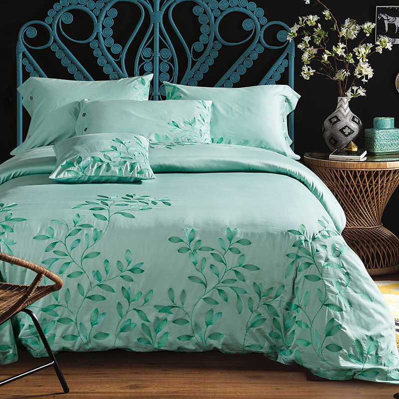 keluo new arrival luxury 60s cotton embroidery bedding set queen king size duvet cover set green