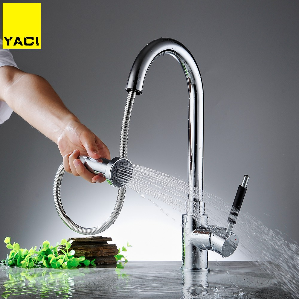 YACI Kitchen Faucet Pull Out Deck Mounted 360 Degree Rotation Multifunction Faucet Hot And Cold Water Mixer Tap Torneira YC8001 durable kitchen faucet pull out deck mounted pull swivel 360 degree rotating cold and hot water tap torneira dourada mixer tap