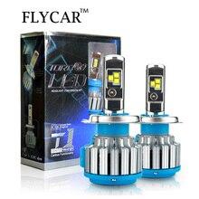 FLYCAR T1 турбо светодиодный фары лампы 60 Вт 7200LM светодиодный налобный фонарь Conversion Kit Turbo светодиодный H4 H1 H3 H7 H11 9004 9007 9005 HB3 9006 HB4