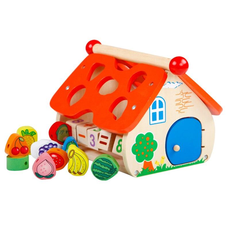 Chanycore bébé apprentissage jouets éducatifs en bois forme géométrique blocs de Fruits boîte perles horloge tri correspondant qzm cadeaux 4134