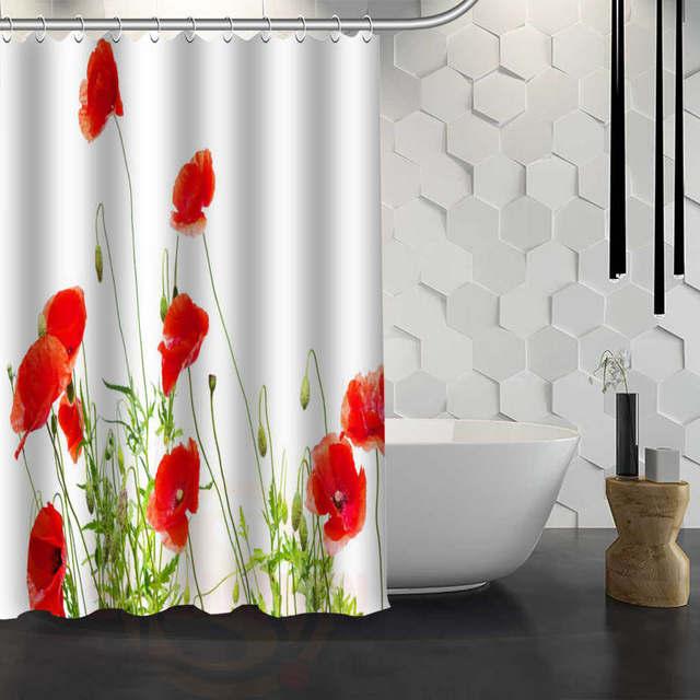 Online shop hot sale custom red poppies flowers custom shower hot sale custom red poppies flowers custom shower curtain waterproof fabric bath curtain for bathroom fy1 17 mightylinksfo
