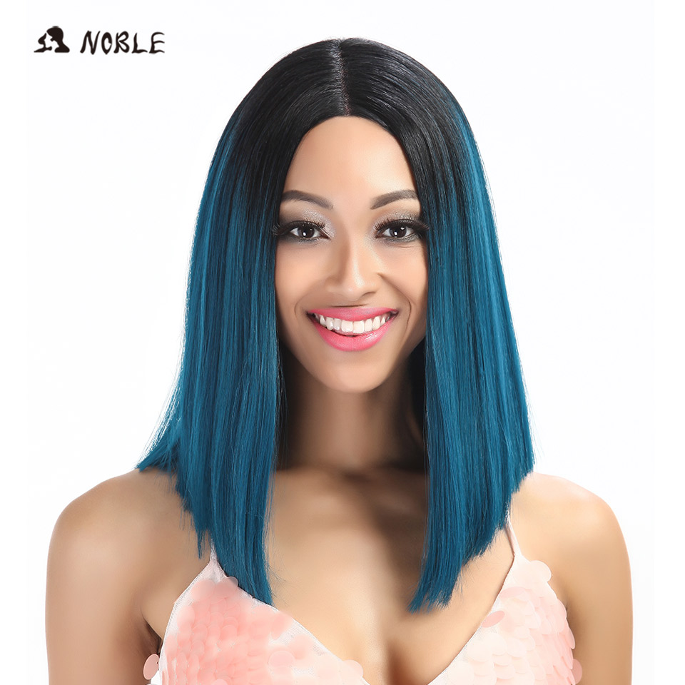Noble Straight Synthetic Hair Lace Front And T Part Wig 14 Inch Wigs For Black Women 7 Colors Ombre Hair Choice Cosplay Wig