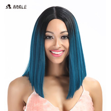Noble Straight Synthetic Hair Lace Front och T Part Wig 14 tums paryk för svarta kvinnor 7 färger Ombre Hair Choice Cosplay Paryk