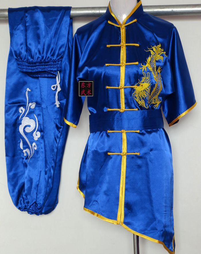 цена New Blue Chinese Martial arts performance clothing dragon Embroidery satin Kung Fu Suit changquan wushu clothes Tai Chi uniforms онлайн в 2017 году