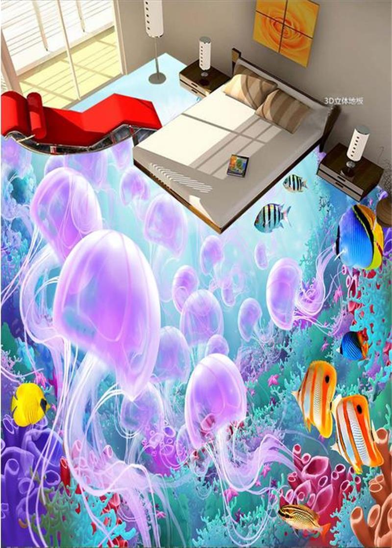 ФОТО Custom Photo Flooring Wallpaper 3D PVC Wallpaper Jellyfish Tropical fish Painting Wear-Resisting Murals Self-Adhesion Wallpaper