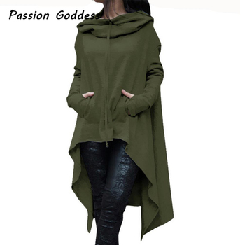 4XL 5XL Oversized Women Big Hoodies Asymmetrical Cloaks Long Loose Hoodies Sweatshirts Pockets Outerwear