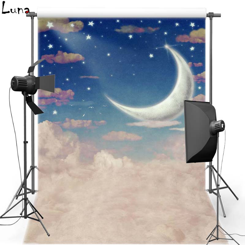 Night Sky White Cloud Vinyl Photography Background New Moon Oxford Backdrop For Children photo studio Props F2733 сборная модель аэробуса revell a 380 first flight