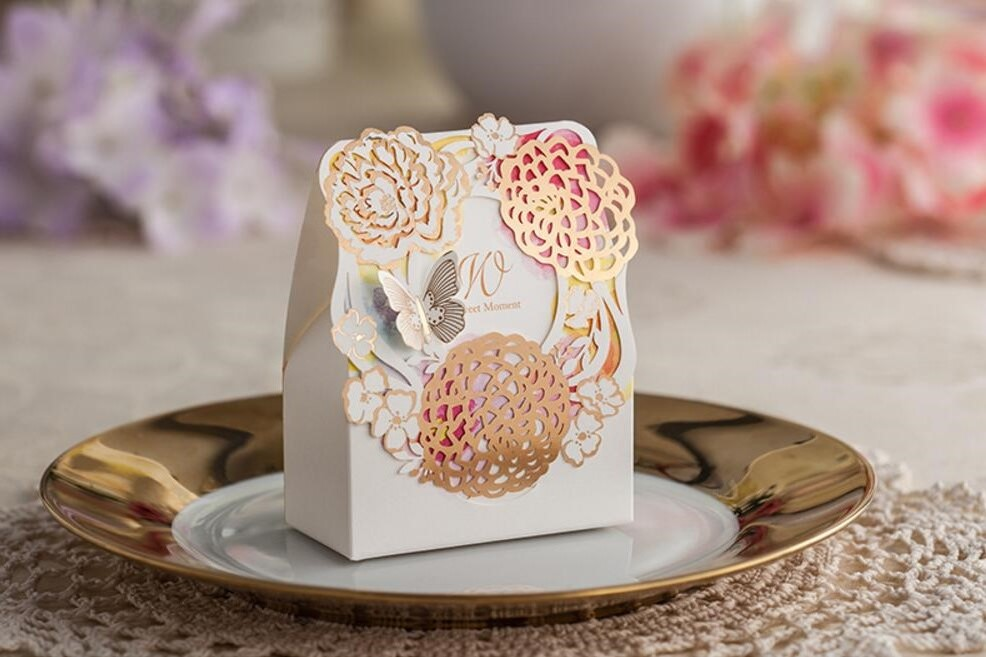 Laser cut bronzing wedding party favor candy box sweets dragee christmas gifts packaging bomboniere chocolate bag