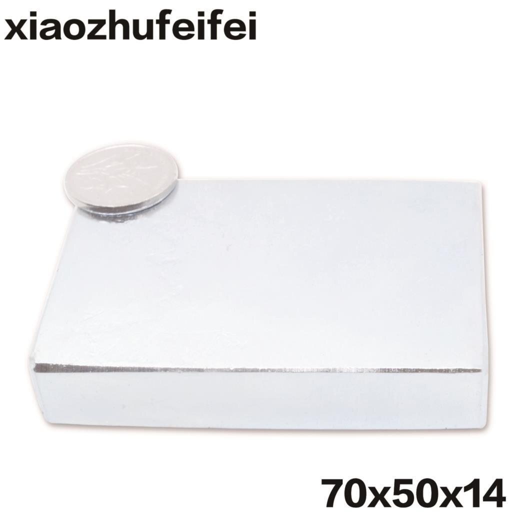 1 pz/pacco Cuboid Block 70x50x14mm Super Forte N52 alta qualità Terra Rara magneti Al Neodimio Magnete 70*50*14mm 70mm * 50mm * 14mm