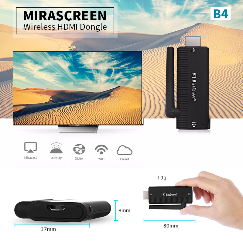 MiraScreen B4 WirelessTV Stick HDMI Dongle 2.4GHz Media TV Stick Receiver DLNA Support Miracast Airplay Android Mac / IOS