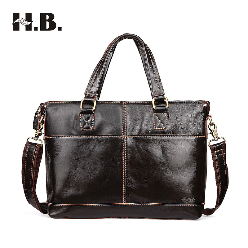 HIBO Men Casual Briefcase Business Shoulder Bag Leather Messenger Bags Computer Laptop Handbag Bag Men's Travel Bags 2016 men casual briefcase business shoulder bag leather messenger bags computer laptop handbag bag men s travel bags two colors