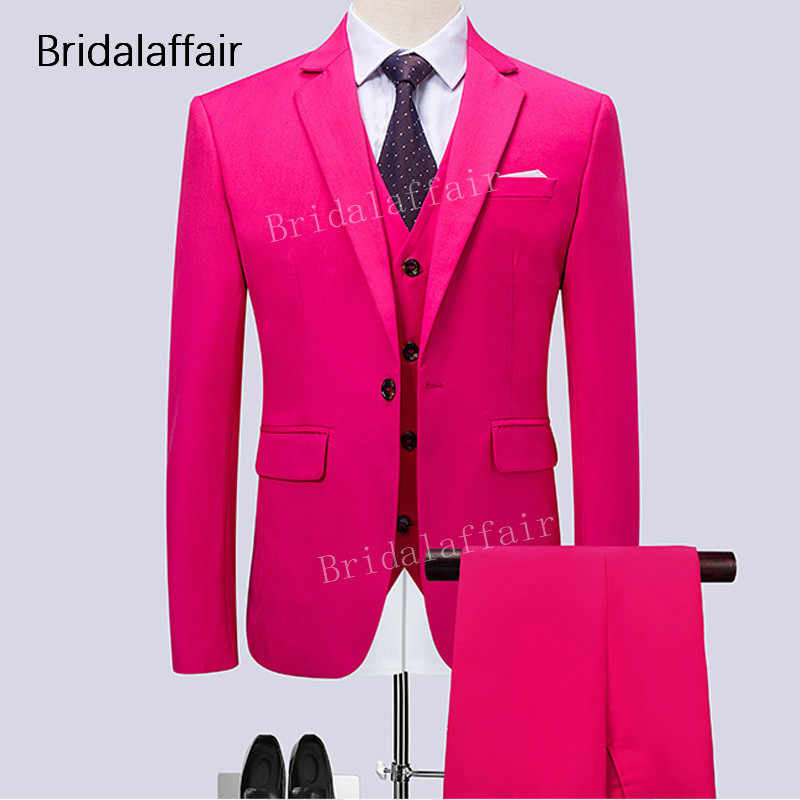 Wonderful Mens Suits for Wedding Prom Groom Tuxedos Formal Solid Hot Pink Men Suit 3Pcs Set Male Costumes (Jacket+Pants+Vest)