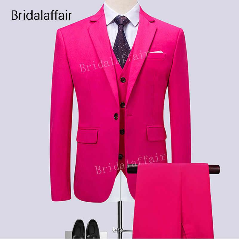 Trajes para hombres maravillosos para boda graduación novio esmoquin Formal sólido caliente Rosa hombres traje 3 piezas conjunto trajes masculinos (chaqueta + Pantalones + chaleco)