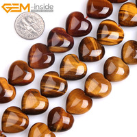 Gem Inside AAA Natural Heart Shape Yellow Tiger Eye Stone Beads For Jewelry Making Strand 15