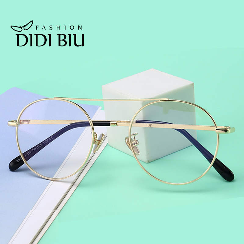 8b9e30845ccc DIDI Small Round Vintage Clear Leopard Glasses Frame Women Men Thin Metal  Decorate Eyeglasses Optical Spectacle Glass Frame W784-in Eyewear Frames  from ...