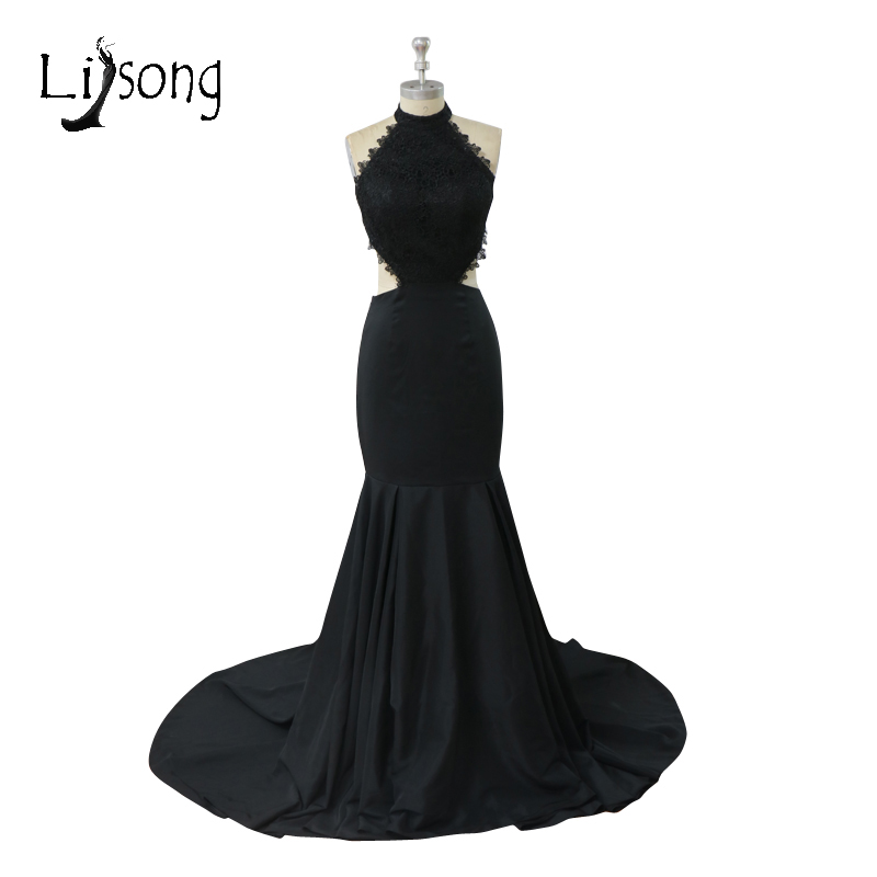 Black Long Mermaid   Prom     Dresses   Sexy Backless Long Formal Party   Dress   2017 Halter Off The Shoulder Beach   Prom   Gowns A059