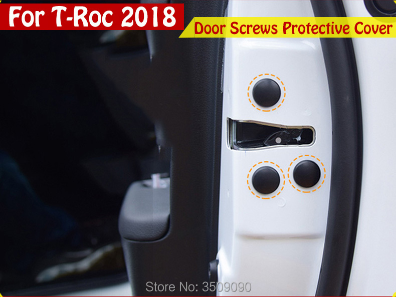 Car Styling Door Screws Protective Protector Cover Caps 12pcs/lot For VW T-Roc 2017 2018