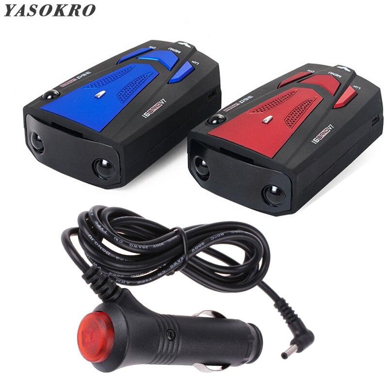 YASOKRO Auto Fahrzeug Radar Detektor 360 Grad Anti Auto Detektor V7 Geschwindigkeit Voice Alert Warnung 16 Band Geschwindigkeit Steuer Detektor