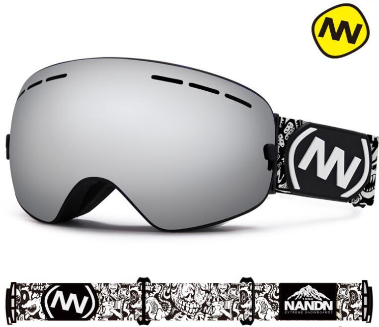 Nandn hombres mujeres gafas de esquí de doble lente antiniebla esféricos grandes